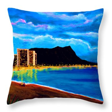 Diamond Head And Waikiki Beach By Night #92 Throw Pillow by Donald k Hall
