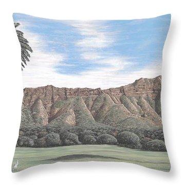 Diamond Head Kapiolani Park Throw Pillow