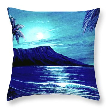 Diamond Head Moon #123 Throw Pillow by Donald k Hall