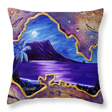 Diamond Head Moon Oahu #141 Throw Pillow by Donald k Hall