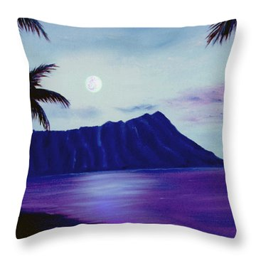 Diamond Head Moon Waikiki #34 Throw Pillow by Donald k Hall