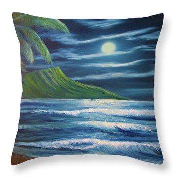 Diamond Head Moon Waikiki Beach  #409 Throw Pillow by Donald k Hall