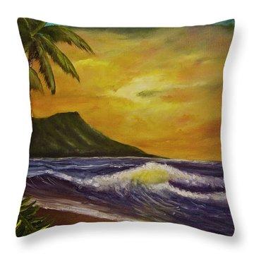 Diamond Head Sunrise Oahu #414 Throw Pillow by Donald k Hall