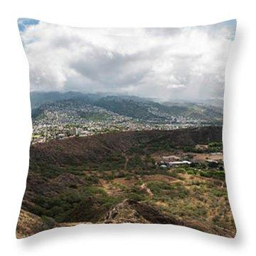 Diamond Head View Panoramic Throw Pillow