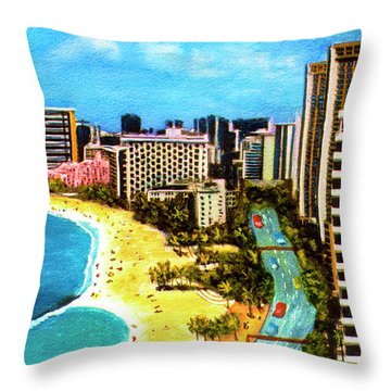 Diamond Head Waikiki Beach Kalakaua Avenue #94 Throw Pillow by Donald k Hall