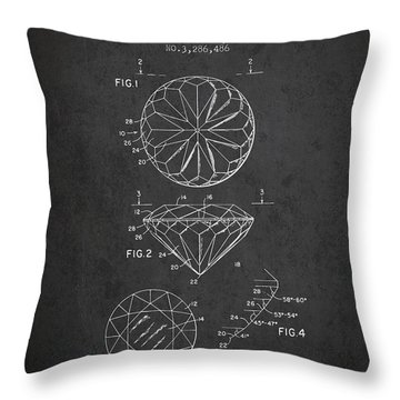 Diamond Patent From 1966- Charcoal Throw Pillow