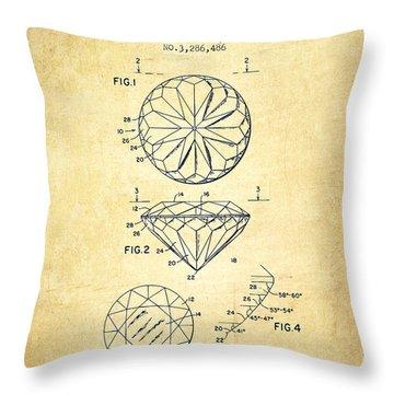 Diamond Patent From 1966- Vintage Throw Pillow