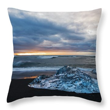 Diamond Sunrise, Jokulsarlon Bay, Iceland Throw Pillow