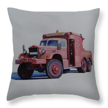 Throw Pillow featuring the painting Diamond T Wrecker. by Mike Jeffries