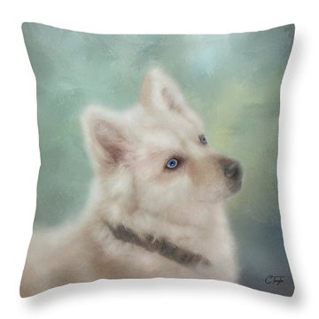 Throw Pillow featuring the mixed media Diamond, The White Shepherd by Colleen Taylor