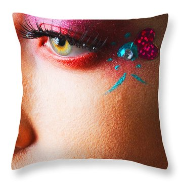 Diamond With Pink Throw Pillow by Robert WK Clark