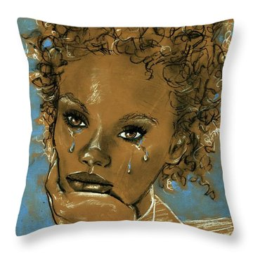 Throw Pillow featuring the drawing Diamond's Daughter by P J Lewis