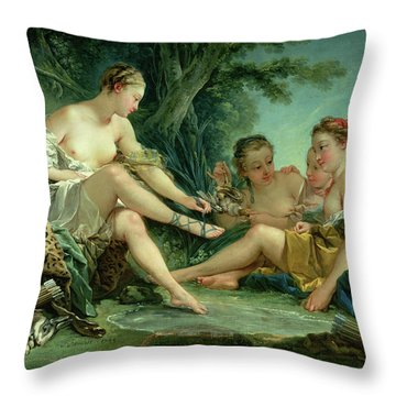 Diana After The Hunt Throw Pillow by Francois Boucher