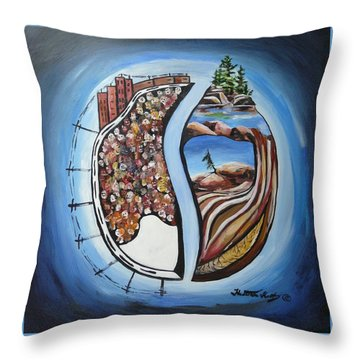 Dicotamy Throw Pillow by Heather Kertzer