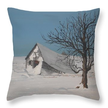 Throw Pillow featuring the painting Didn't Anyone Care. by Betty-Anne McDonald