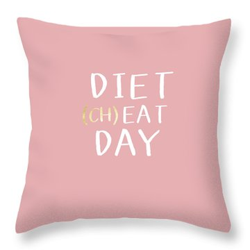 Diet Cheat Day Pink- Art By Linda Woods Throw Pillow