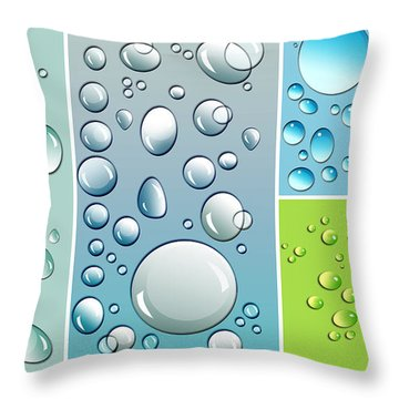 Different Size Droplets On Colored Surface Throw Pillow by Sandra Cunningham