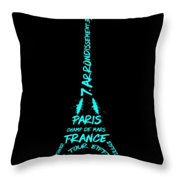 Digital-art Eiffel Tower Cyan Throw Pillow