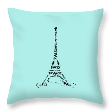 Digital-art Eiffel Tower Throw Pillow by Melanie Viola