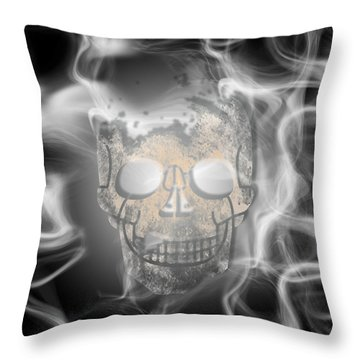 Digital-art Smoke And Skull Throw Pillow