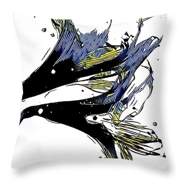 Throw Pillow featuring the digital art Digital Blue by Diane White