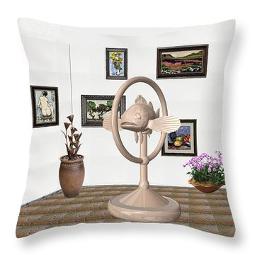 digital exhibartition _ Statue of fish 3 Throw Pillow