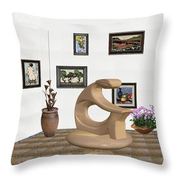 Throw Pillow featuring the mixed media digital exhibitartion _Statue of  girl by Pemaro