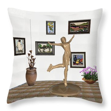 Throw Pillow featuring the mixed media digital exhibition _ A sculpture of a dancing girl 11 by Pemaro