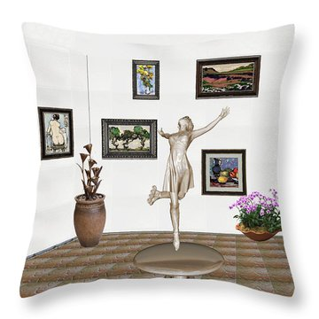 digital exhibition _ A sculpture of a dancing girl 12 Throw Pillow by Pemaro