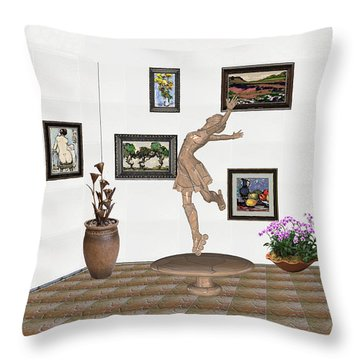 digital exhibition _ A sculpture of a dancing girl 14 Throw Pillow by Pemaro