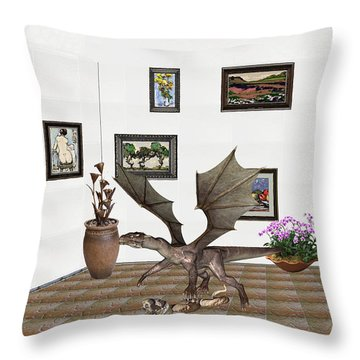 Throw Pillow featuring the mixed media digital exhibition _ Dragon and snake by Pemaro