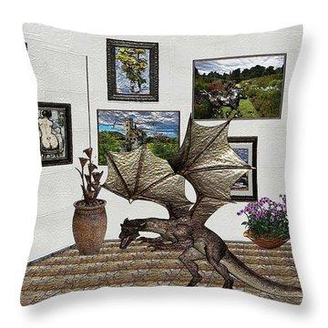 Digital Exhibition _ Dragon Throw Pillow by Pemaro
