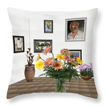 Digital Exhibition _ Flowers In A Vase Throw Pillow