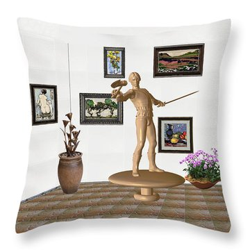 Throw Pillow featuring the mixed media Digital Exhibition _ Guard Of The Exhibition 3 by Pemaro
