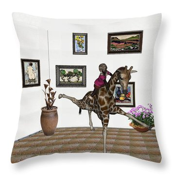 Throw Pillow featuring the mixed media digital exhibition _ It climbed up giraffe by Pemaro