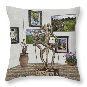 Throw Pillow featuring the mixed media Digital Exhibition _ Modern  Statue 1   Of Dancing Girl by Pemaro