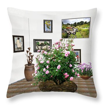 Throw Pillow featuring the mixed media Digital Exhibition _ Roses Blossom 22 by Pemaro