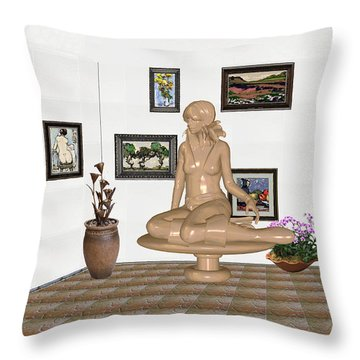 digital exhibition _ Sculpture 10 of girl  Throw Pillow by Pemaro