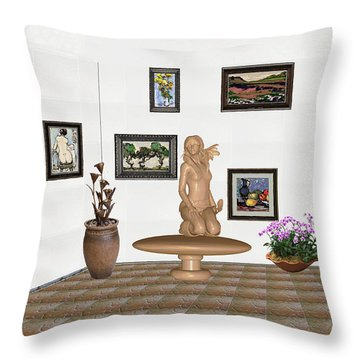 digital exhibition _ Sculpture 7 of girl  Throw Pillow by Pemaro