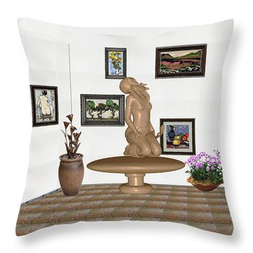 Throw Pillow featuring the mixed media digital exhibition _ Sculpture 8 of girl  by Pemaro