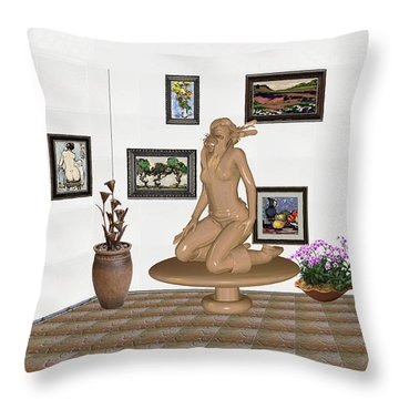 digital exhibition _ Sculpture 9 of girl  Throw Pillow by Pemaro
