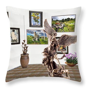 Throw Pillow featuring the mixed media digital exhibition _  sculpture of a Angels and Demons  by Pemaro