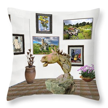 Throw Pillow featuring the mixed media Digital Exhibition _  Sculpture Of A Horse by Pemaro
