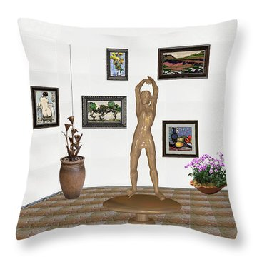 digital exhibition _ Statue of a Statue 23 of posing lady  Throw Pillow