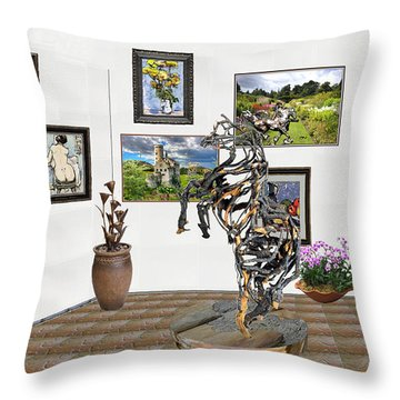 Throw Pillow featuring the mixed media Digital Exhibition _ Statue Of Branches by Pemaro