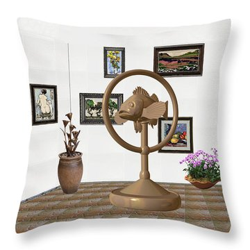 digital exhibition _ Statue of fish 1 Throw Pillow