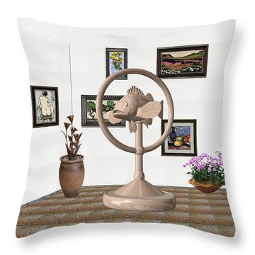 digital exhibition _ Statue of fish 2 Throw Pillow