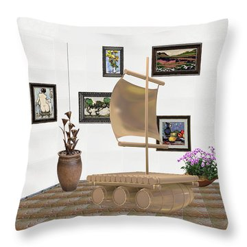 digital exhibition _ Statue raft with sails 4 Throw Pillow