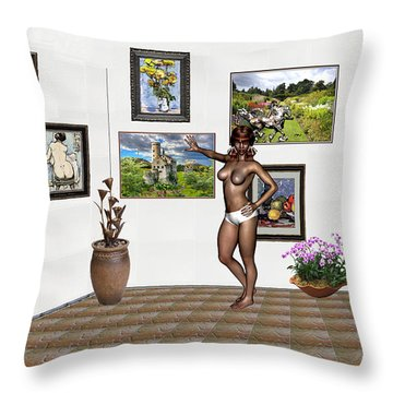 Throw Pillow featuring the mixed media digital exhibition 32 _ posing  Girl 32  by Pemaro