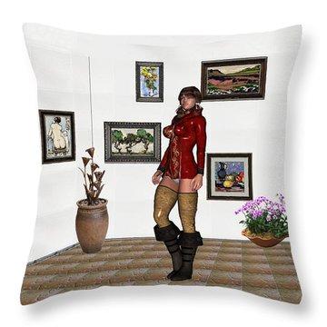 digital exhibition 32  posing  Girl 31  Throw Pillow by Pemaro